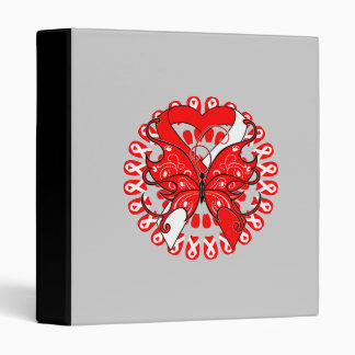 Oral Cancer Butterfly Heart Ribbon Vinyl Binders