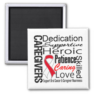 Oral Cancer Caregivers Collage 2 Inch Square Magnet