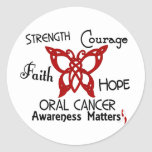 Oral Cancer Celtic Butterfly 3 Round Sticker