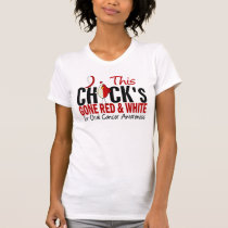 Oral Cancer Chick Gone Red and White T-Shirt