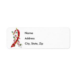 Oral Cancer Christmas Lights Ribbon Return Address Label