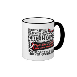 Oral Cancer Collage - Fight Like a Girl Ringer Coffee Mug