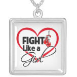 Oral Cancer Fight Like a Girl Heart Personalized Necklace
