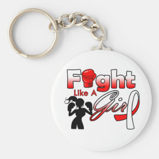 Oral Cancer Fight Like A Girl Silhouette Keychains