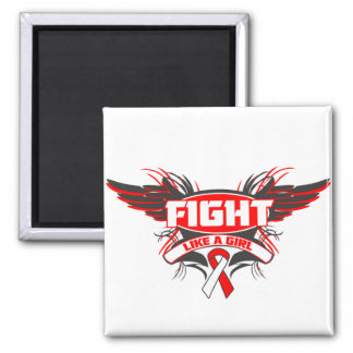 Oral Cancer Fight Like a Girl Wings png Fridge Magnets