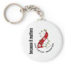 Oral Cancer Flower Ribbon 3 Keychain