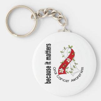 Oral Cancer Flower Ribbon 3 Keychain