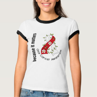 Oral Cancer Flower Ribbon 3 T-Shirt
