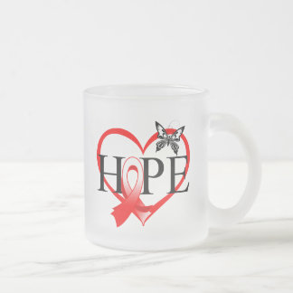 Oral Cancer Hope Butterfly Heart Décor 10 Oz Frosted Glass Coffee Mug
