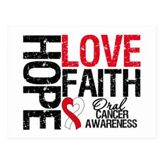 Oral Cancer Hope Love Faith Postcard