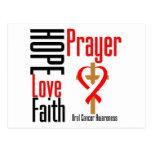 Oral Cancer Hope Love Faith Prayer Cross Postcard