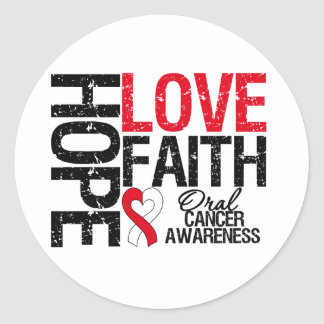 Oral Cancer Hope Love Faith Round Stickers