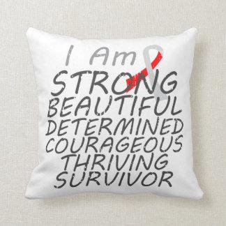 Oral Cancer I Am Strong Survivor Throw Pillows