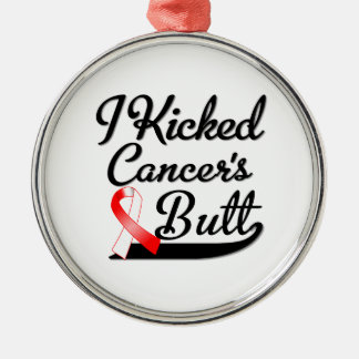 Oral Cancer I Kicked Butt Round Metal Christmas Ornament