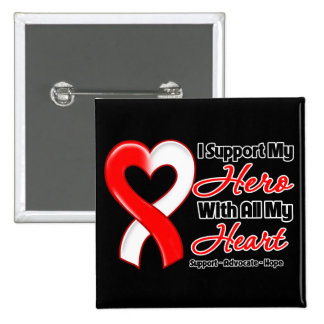 Oral Cancer I Support My Hero With All My Heart 2 Inch Square Button