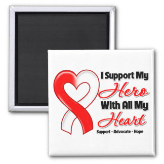 Oral Cancer I Support My Hero With All My Heart 2 Inch Square Magnet
