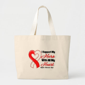 Oral Cancer I Support My Hero With All My Heart Jumbo Tote Bag