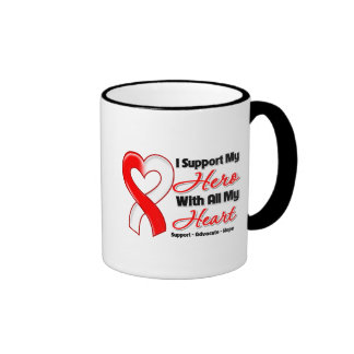 Oral Cancer I Support My Hero With All My Heart Ringer Coffee Mug