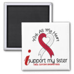ORAL CANCER I Support My Sister 2 Inch Square Magnet