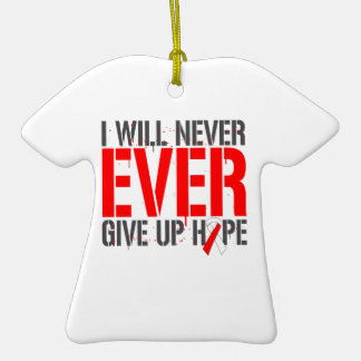 Oral Cancer I Will Never Ever Give Up Hope Double-Sided T-Shirt Ceramic Christmas Ornament