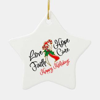 Oral Cancer Love Hope Holidays Ceramic Ornament