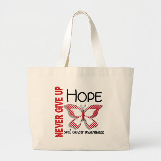 Oral Cancer Never Give Up Hope Butterfly 4.1 Large Tote Bag
