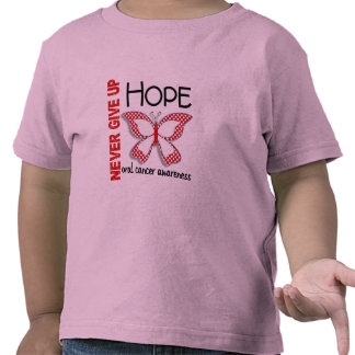 Oral Cancer Never Give Up Hope Butterfly 4.1 Tee Shirt