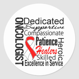 Oral Cancer Oncologist Collage Round Stickers