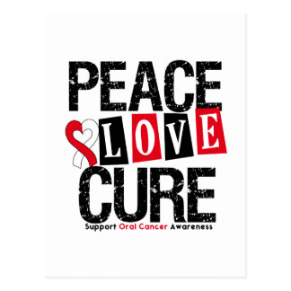 Oral Cancer Peace Love Cure Postcard