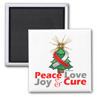 Oral Cancer Peace Love Joy Cure 2 Inch Square Magnet