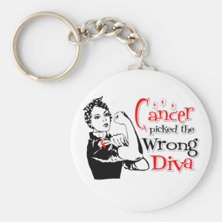 Oral Cancer Picked The Wrong Diva Basic Round Button Keychain