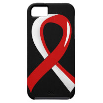 Oral Cancer Red White Ribbon 3 iPhone SE/5/5s Case