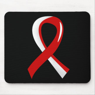 Oral Cancer Red White Ribbon 3 Mouse Pad