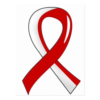 Oral Cancer Red White Ribbon 3 Postcard