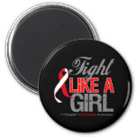 Oral Cancer Ribbon - Fight Like a Girl Fridge Magnets