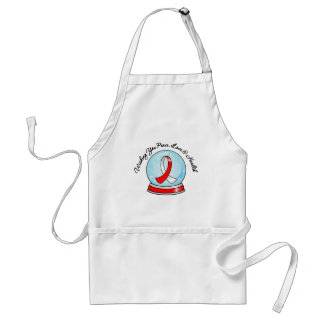 Oral Cancer Ribbon Merry Christmas Snowglobe Adult Apron