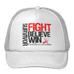 Oral Cancer Survivor Fight Believe Win Motto Trucker Hats