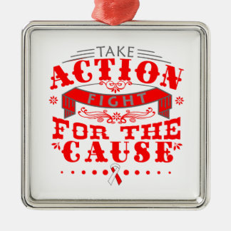 Oral Cancer Take Action Fight For The Cause Square Metal Christmas Ornament