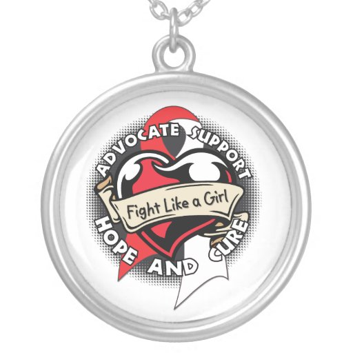 Oral Cancer - Tattoo Heart Fight Like A Girl Custom Necklace