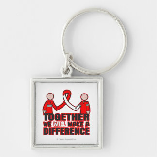 Oral Cancer Together We Will Make A Difference.png Silver-Colored Square Keychain