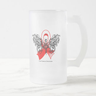 Oral Cancer Tribal Butterfly 16 Oz Frosted Glass Beer Mug