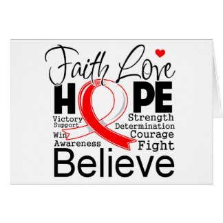 Oral Cancer Typographic Faith Love Hope Greeting Card
