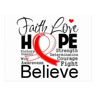 Oral Cancer Typographic Faith Love Hope Postcard