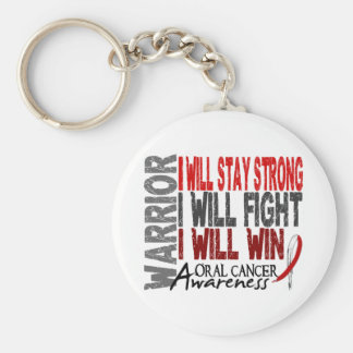 Oral Cancer Warrior Basic Round Button Keychain