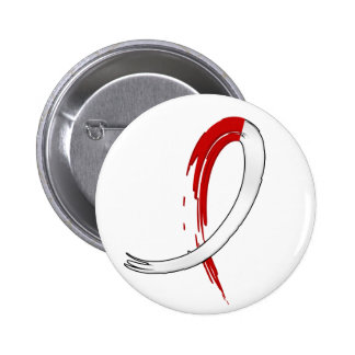 Oral Cancer's Red and White Ribbon A4 Pinback Button