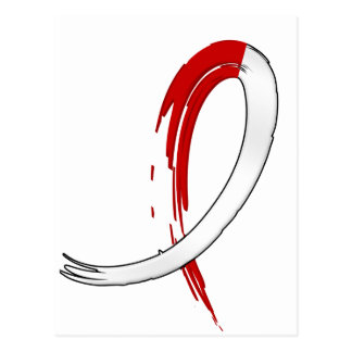 Oral Cancer's Red and White Ribbon A4 Postcard