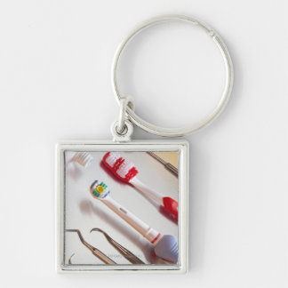 Oral Hygiene - Electric toothbrush, manual Silver-Colored Square Keychain