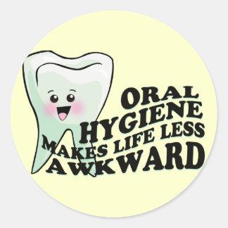 Oral Hygiene Makes Life Less Awkward Round Sticker
