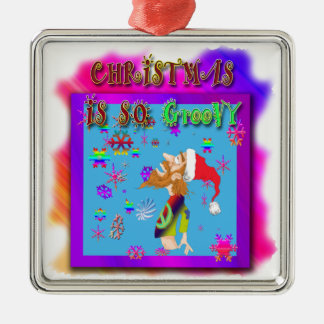 Orament christmas is so groovy metal ornament
