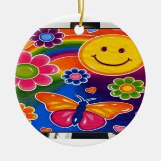 oranament sonriente adorno navideño redondo de cerámica